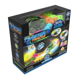 Circuit cu pista flexibila neon glow + 1 masina de cursa Mindscope