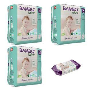 Set 3 pachete BAMBO Nature Nr. 3, 4 - 8 kg, 84 buc + cadou servetele umede 80 buc
