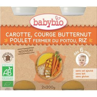 Babybio Piure de morcov, dovleac butternut, pui si orez 2x200 g