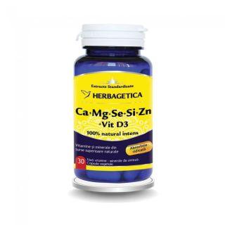 Herbagetica Ca+Mg+Se+Si+Zn cu Vit D3 Complex Forte