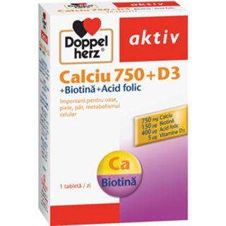 Calciu 750 + D3 + Biotina + Acid Folic Doppelherz Aktiv