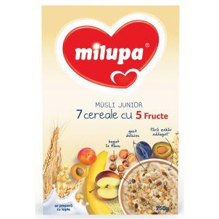 Milupa Musli Junior 7 cereale cu 5 fructe, 250gr