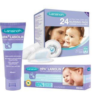 Pachet promo crema pentru mameloane HPA Lanolin + tampoane pentru san x 24buc Lansinoh