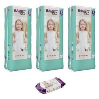 Set 3 pachete BAMBO Nature Nr. 5, 12 - 18 kg, 132 buc + cadou servetele umede 80 buc