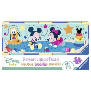 Puzzle din lemn Personaje Disney Ravensburger 4 piese