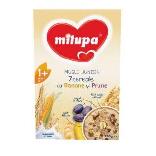 Milupa Musli Junior 7 cereale cu banane si prune, 250 g
