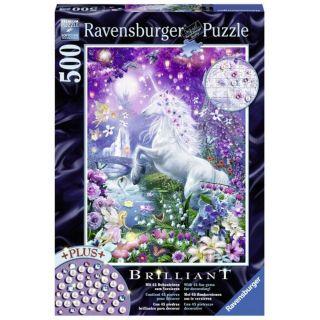 Puzzle Unicorn in padurea sclipitoare Ravensburger 500 piese