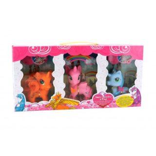 Set de joaca Globo 3 ponei unicorn cu accesorii GL37391