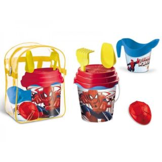 Set plaja Spiderman Mondo pentru copii cu ghiozdanel, jucarii plaja si galetusa MON28191