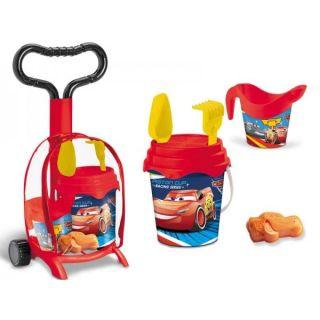 Troller cu ghiozdanel Cars Mondo pentru copii cu jucarii plaja si galetusa MON18822