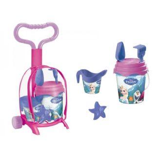 Troller cu ghiozdanel Frozen Mondo pentru copii cu jucarii plaja si galetusa MON28317