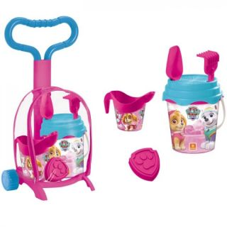 Troller cu ghiozdanel Paw Patrol Girls Mondo pentru copii cu jucarii plaja si galetusa MON28072