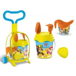 Troller cu ghiozdanel Paw Patrol Mondo pentru copii cu jucarii plaja si galetusa MON28303