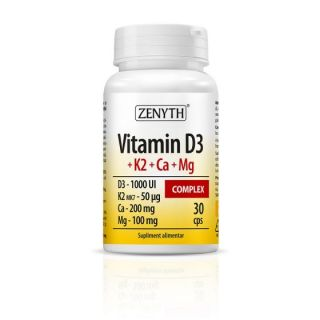 Vitamin D3 + K2 + Ca + Mg Complex 30 capsule Zenyth